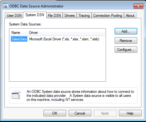 ODBC Data Source Administrator System DSN Now Exist